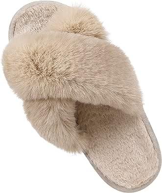 Women's Soft Plush Lightweight House Slippers Non Slip Cross Band Slip on Open Toe Cozy Indoor Outdoor Slippers