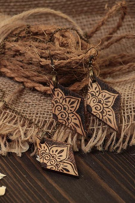 Pendientes de madera y colgante bisuteria artesanal accesorios de mujer