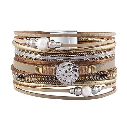 bf73684ce7a Jenia Women Leather Cuff Bracelet Pearl Braided Wrap Bracelets Charm  Snowflake Cuff Bangle Handmade Jewelry for Girls, Mother, Wife, Ladies Gift:  Amazon.ca: ...