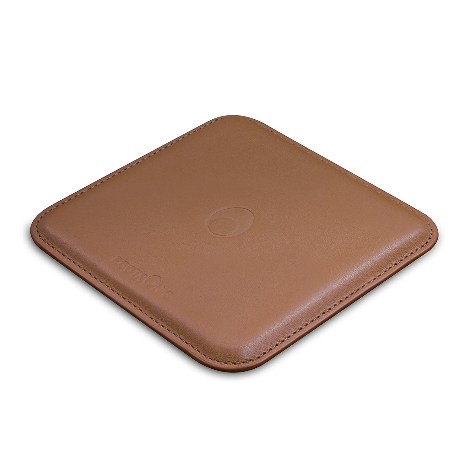 Eggtronic Fast Charging Wireless Pad in Genuine Leather (Compatible with Galaxy S9, S9 Plus, iPhone X, iPhone 8, iPhone 8 Plus) (Saddle Brown)