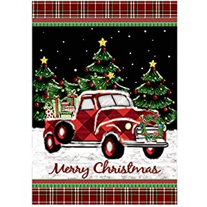 Morigins Merry Christmas Decorative Winter Red Truck with Gifts Double Sided Holiday House Flag 28x40 in