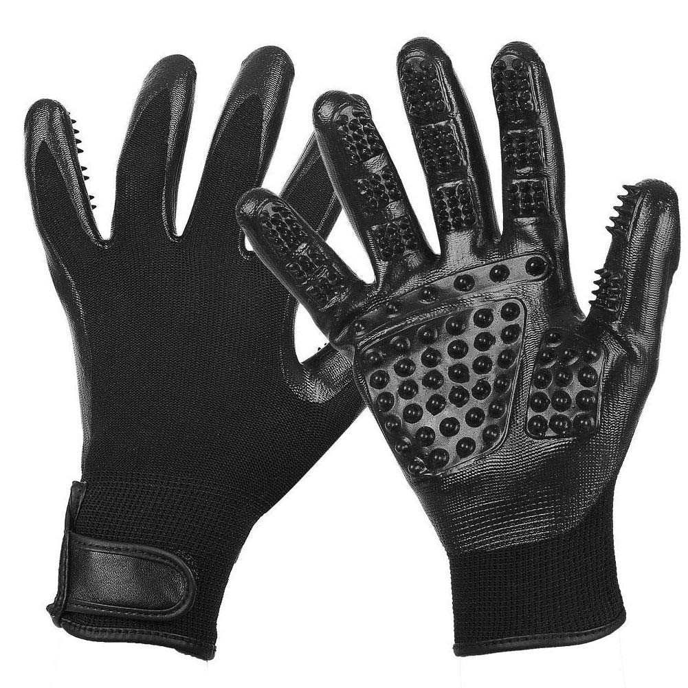 WQING Pet Grooming Gloves Left Right Enhanced Five Finger Design for Cats Dogs Horses Long Short Fur,Black by WQING