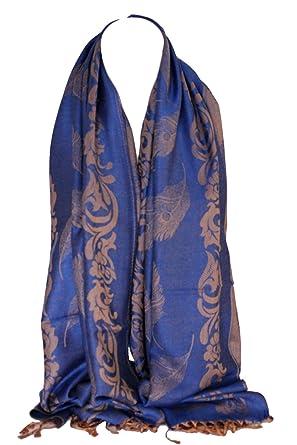 Luxe Pashmina sentir plume de paon impression écharpe Wrap écharpe étole  Floral foulards ethniques tête de 9cac7e87e25