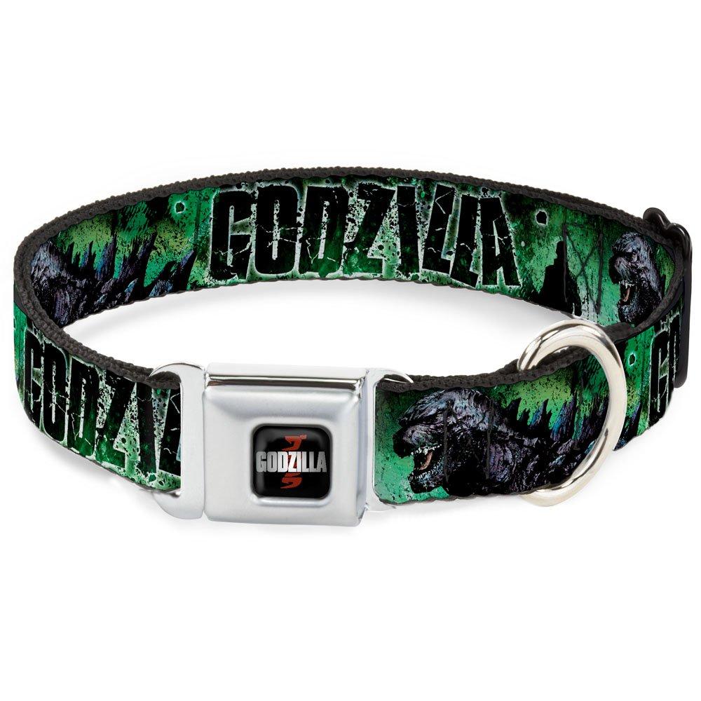 1.5\ Buckle-Down DC-WGZ003-WS Dog Collar Seatbelt Buckle, Godzilla Man Silhouette Green, 1.5  by 13-18