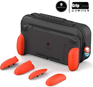 Skull & Co. GripCase Set: A Dockable Protective Case with Replaceable Grips [to fit All Hands Sizes] for Nintendo Switch - Double Neon Red