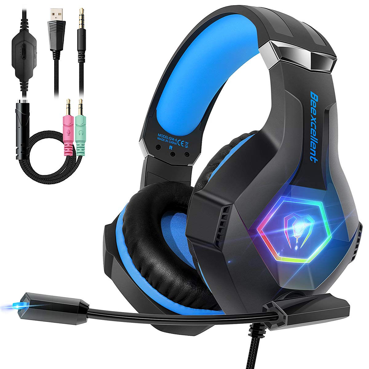 Beexcellent Cascos PS4 con Micrófono Flexible para Xbox One PC Nintendo PS4 Tableta Laptop, Auriculares con Premium Stereo, Orejeras Acolchadas Ligero Cómodo y Diadema Ajustable, Iluminación RGB product image