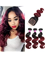 Ombre Brazilian Hair Body Wave with Lace Closure 1B Burgundy Ombre Human Hair Bundles with Closure Good Body Wave Ombre Red Hair (10 12 14+10)