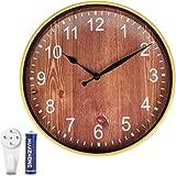 Cesun Retro Wall Clock 12 Inch Wood Design Round Silent Non-Ticking Battery Operated Quality Quartz Clock Wall Decor for Livi