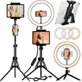 """[2021 Newest Version] PEYOU 12"""" Selfie Ring Light with 60"""" Tripod Stand & Tablet Phone Holders, Multifunctional LED Ring Ligh"""