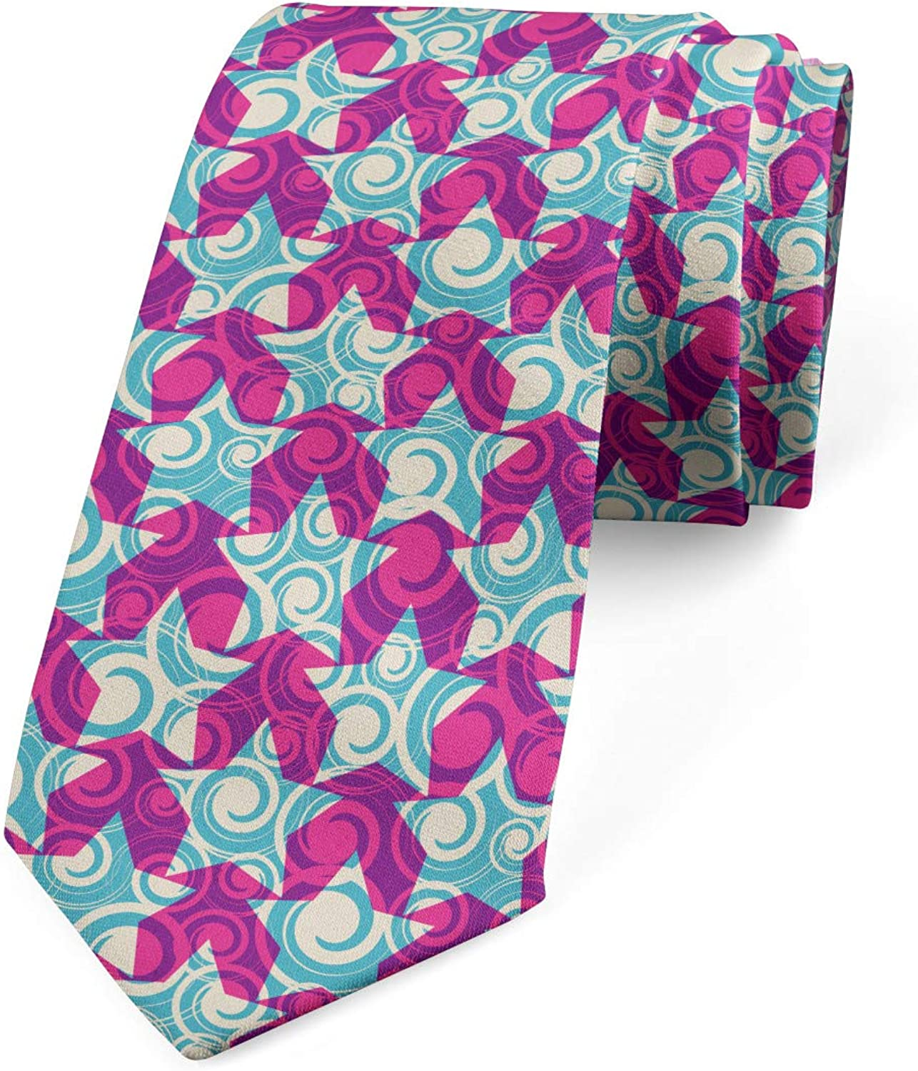 3.7 Magenta Multicolor Ambesonne Mens Tie Swirl Wave Style Vivid Motifs