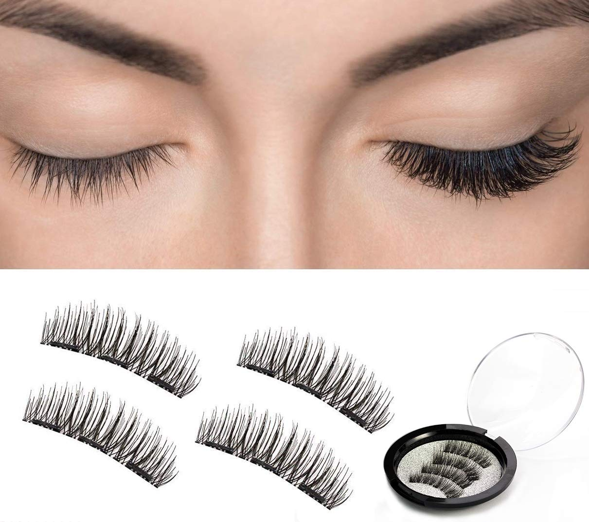 9c57a5d9af8 False Eyelashes, Mijiao 3D Magnetic Eyelashes Natural Look Handmade  Reusable Free Glue & Long Double Ultra Thin Magnet Fake Lashes - 4 Pieces:  Amazon.co.uk: ...
