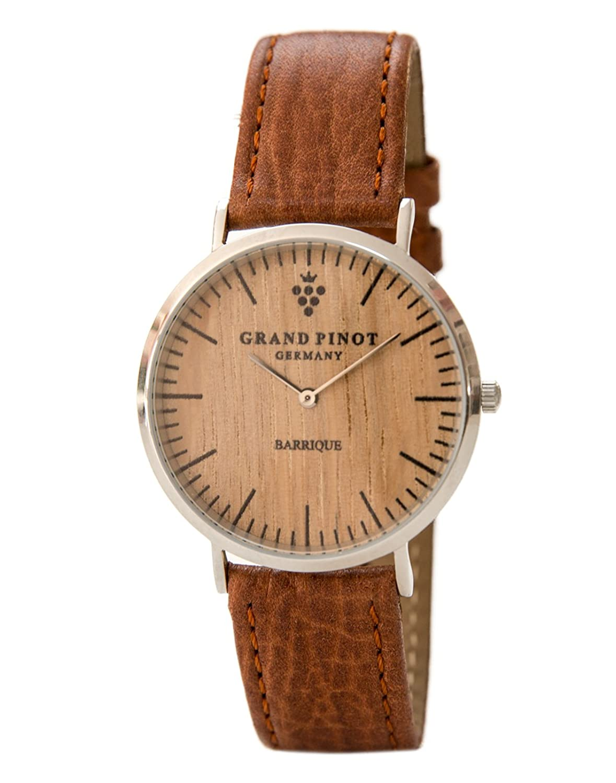 Grand Pinot flache Damen-Armbanduhr CLASSIC (36 mm) Silber-Barriquefass mit hellbraunem Lederarmband (schlanke Holzuhr