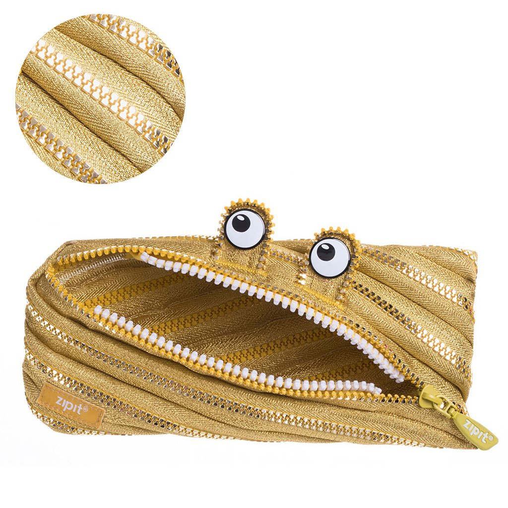 ZIPIT Monster - Estuche para lápices, color dorado: Amazon.es: Oficina y papelería