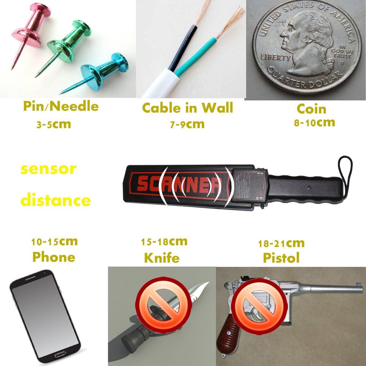 Generic sensible Detector de metales de mano precisa detección de alarma de seguridad de metal sonda de uñas escáner escáner con recargable de pago: ...