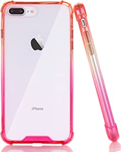 BAISRKE Clear Case for iPhone 7 Plus, Slim Shock Absorption Protective Case Soft TPU Bumper & Hard Plastic Back Cover Phone Cases for iPhone 7 Plus / 8 Plus 5.5 inch - Red Pink Gradient