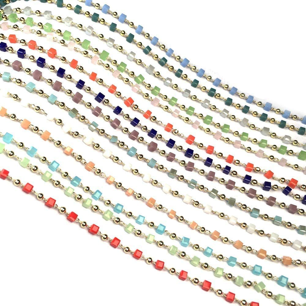 3,5,10 Feet Red Hydro Stone Silver Plated Rosary Beaded Chain Jewelry Making