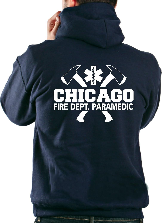 Felpa con cappuccio giacca navy, Chicago Fire Department - para Medic con ascia feuer1