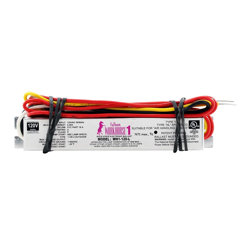 amazon com: fulham wh1-120-l fluorescent ballast, 1-lamp, t2 t5 cfl, 28w,  120v (10-pack): home improvement