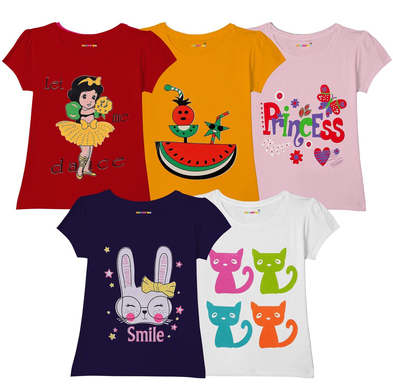 Kuchipoo Girls Regular Fit Cotton T-Shirt