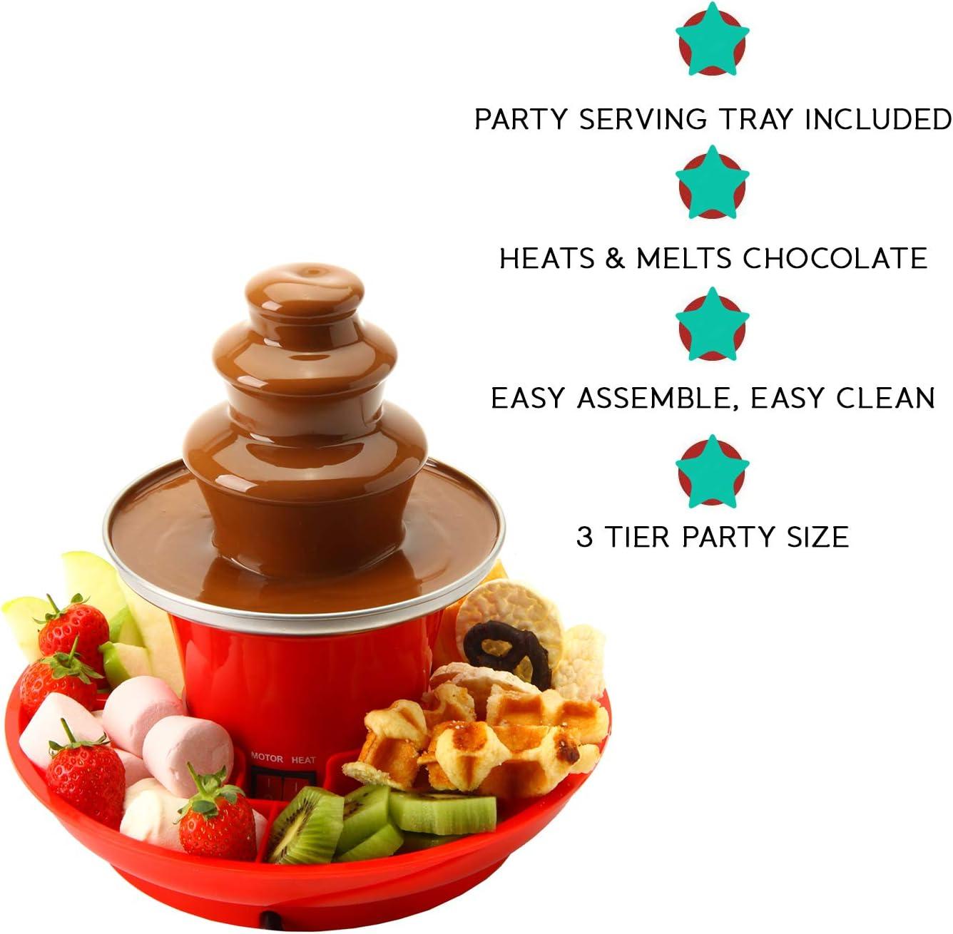 Machine /électrique /à 3 /étages avec base de pot de fusion chaude Fonction garder au chaud Global Gourmet Mini fontaine /à chocolat 250 ml avec plateau de service inclus