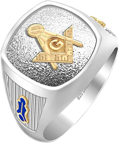 Sizes 8 to 14 US Jewels And Gems Mens Shriner 0.925 Sterling Silver Freemason Masonic Ring