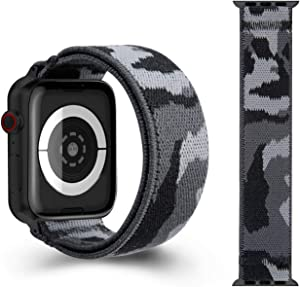 CreateGreat Elastic Band Compatible with Apple Watch 42mm 44mm with with Camo Pattern (Black Adapter for 42mm/44mm,Wrist Size: 7.0-7.5 inch L)