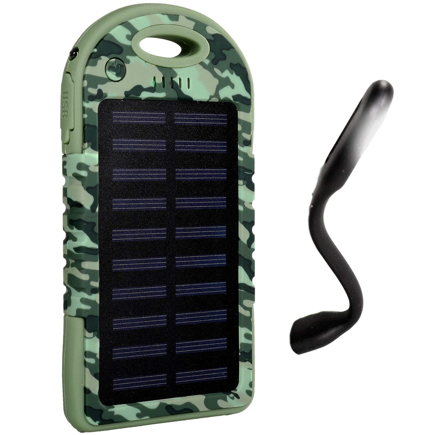 iBoost 5000 mAh Portable Solar Smartphone Power Pack Bank Battery Charger, 2 USB Ports, Use iPhone, Samsung, Android Windows Phones, GoPro Camera, GPS Device, Free Reading Light (Camo)