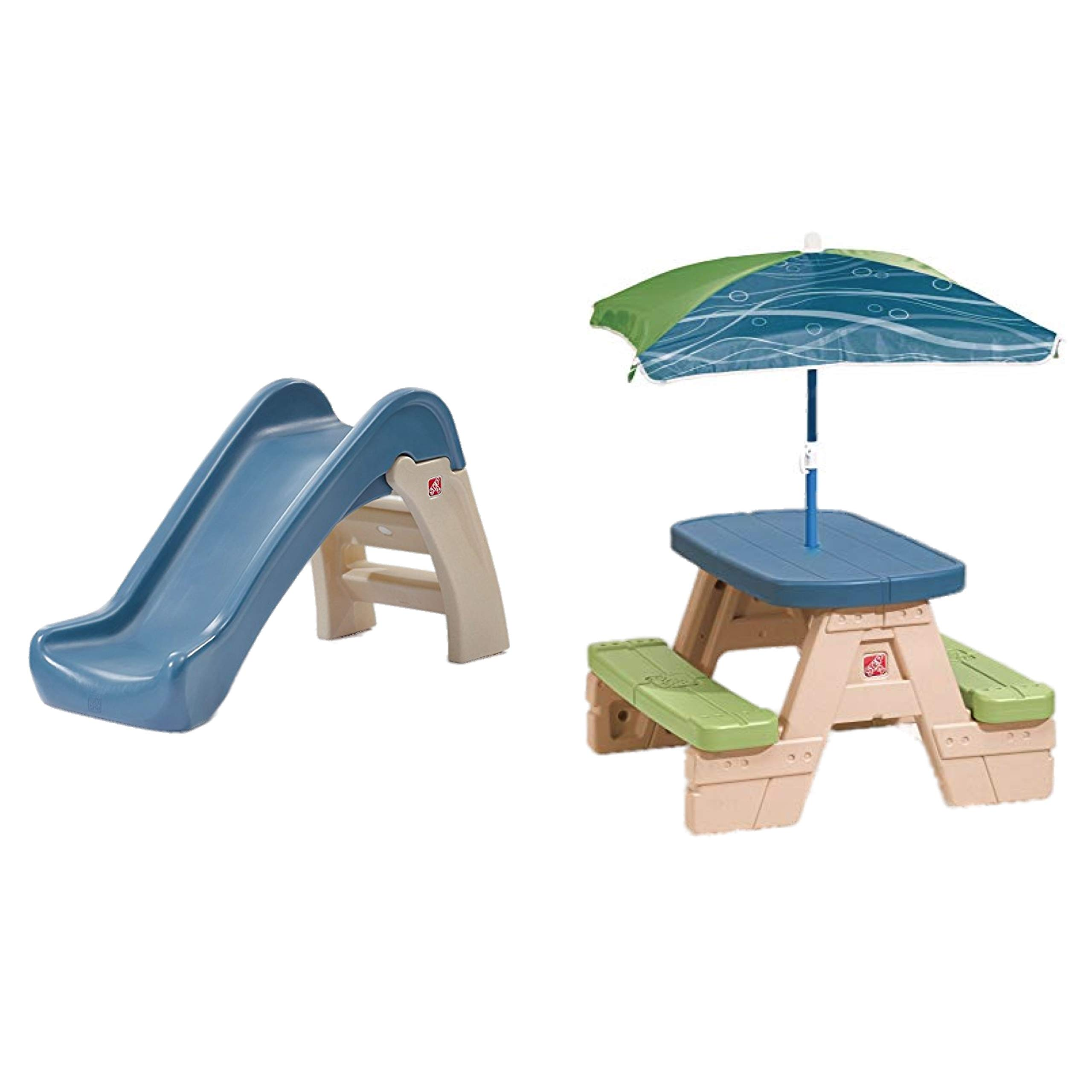 Bundle Includes 2 Items - Step2 Play and Fold Jr. Kids Slide and Step2 Sit and Play Kids Picnic Table with Umbrella