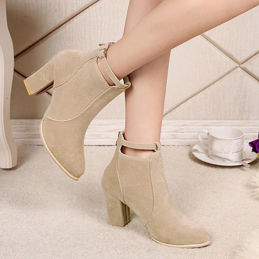 303cc390c761 Stiefel Damen, LANSKIRT Frauen Stiefeletten   Ankle Boots   Trendige Damen  Stiefeletten   Blockabsatz Plateau