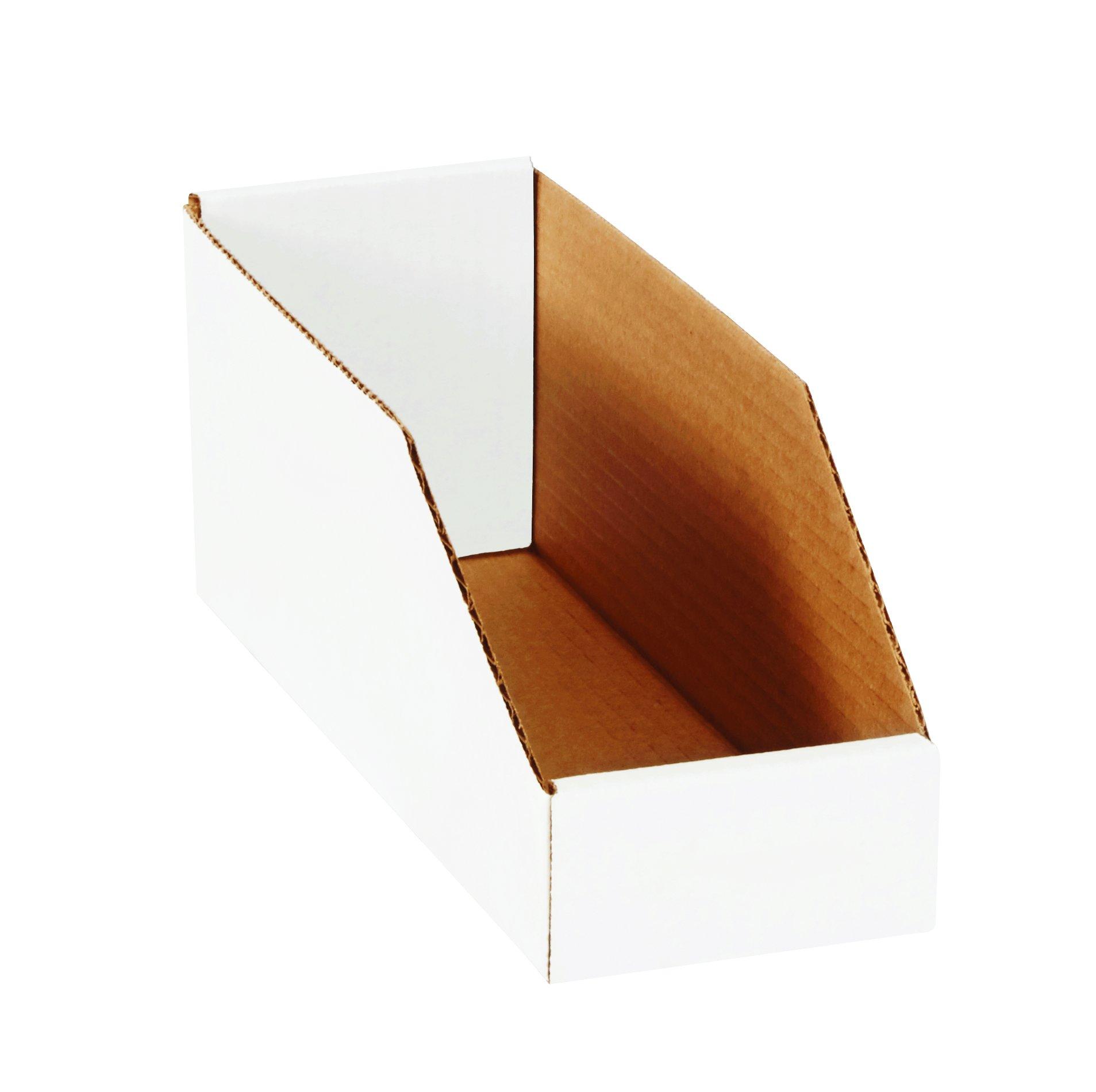 Aviditi BINMT412 Corrugated Open Top Bin Box, 12'' Length x 4'' Width x 4-1/2'' Height, Oyster White (Case of 50)