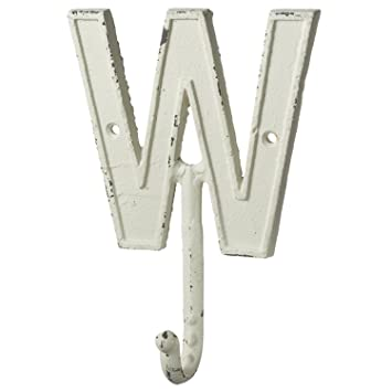 monogram letter w alphabet white single 75 inch wall hook cast iron distressed