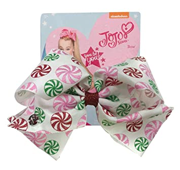 jojo siwa large cheer hair bow christmas peppermints