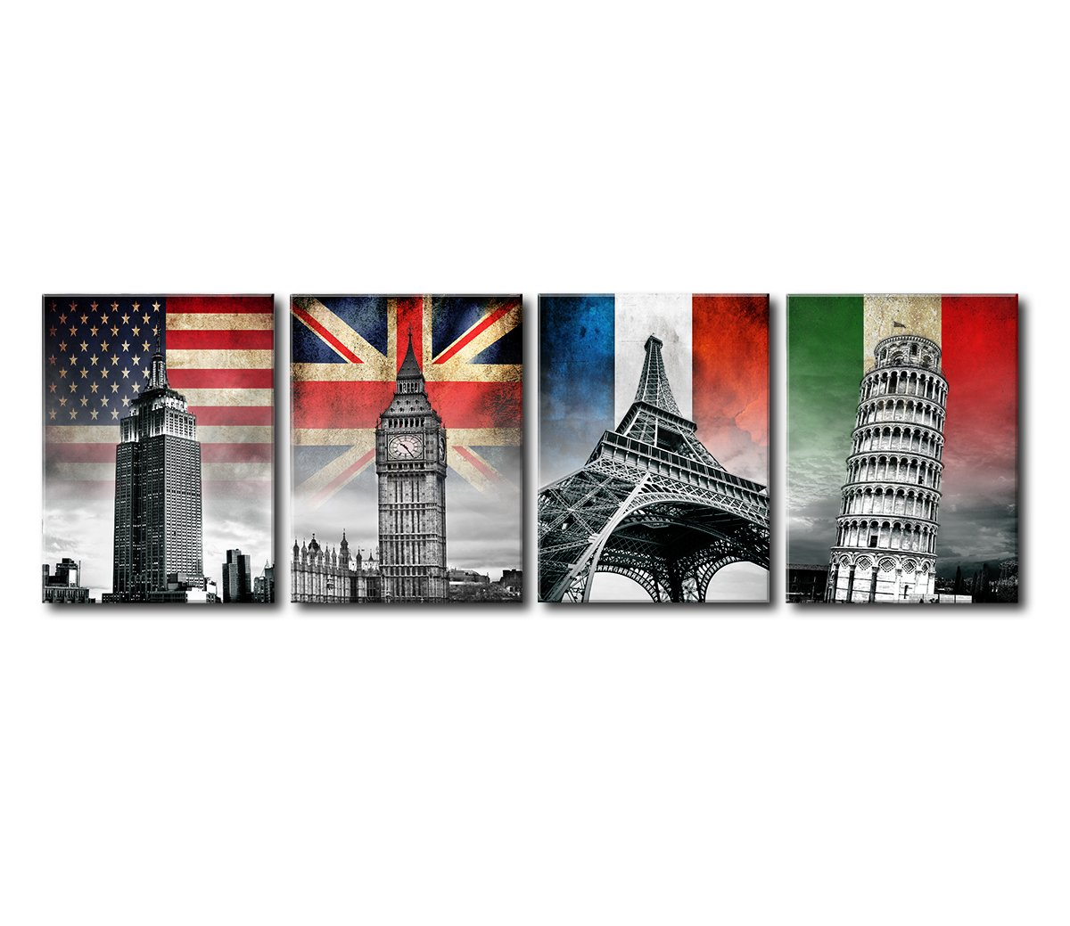 Canvas Prints Wall Art - United States New York Empire State Building, London, England Big Ben, Paris, France Eiffel Tower, Italy Leaning Tower of Pisa - National Flags and Landmarks Travel Home Decor