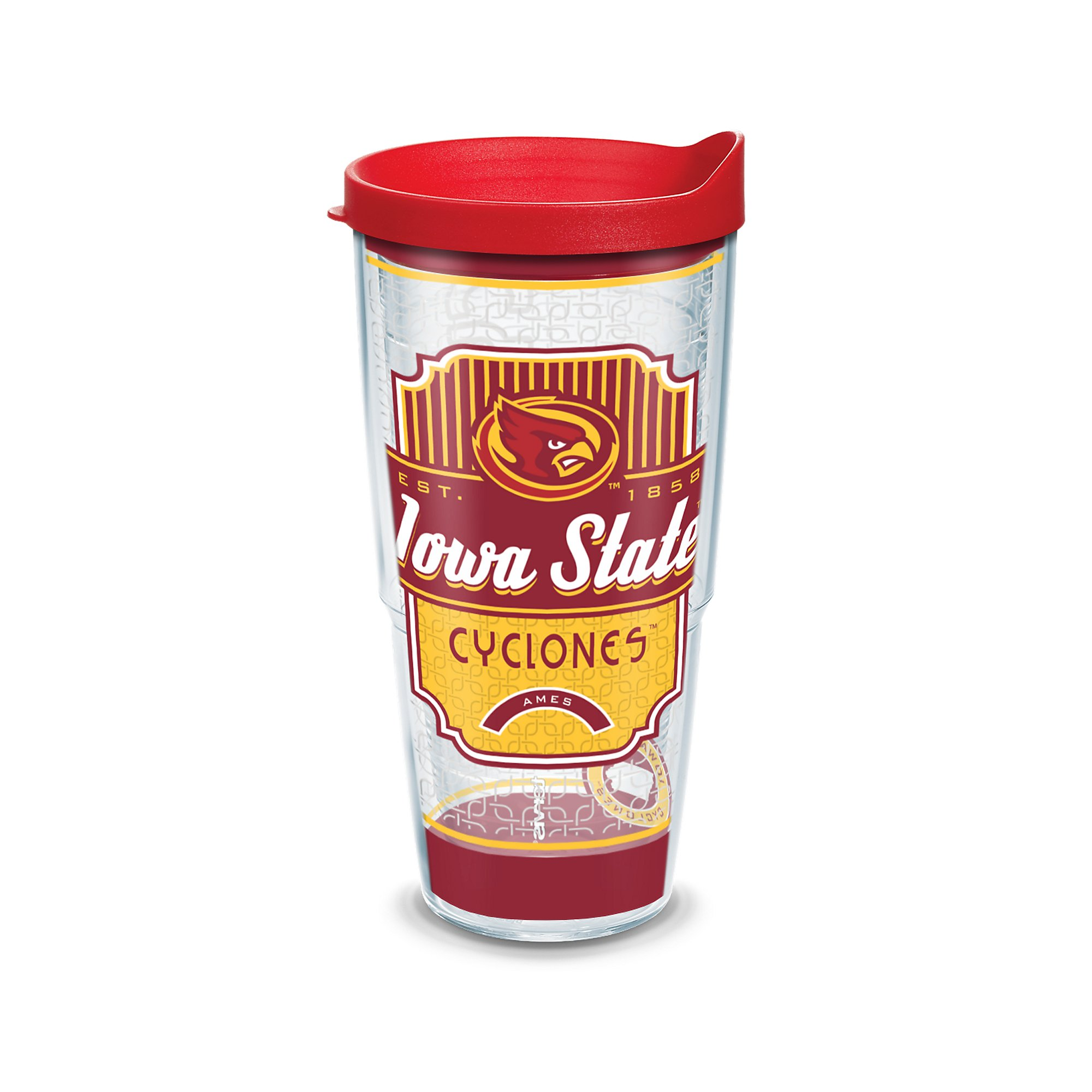 Tervis 1230312 Iowa State Cyclones Pregame Prep Tumbler with Wrap and Red Lid 24oz, Clear