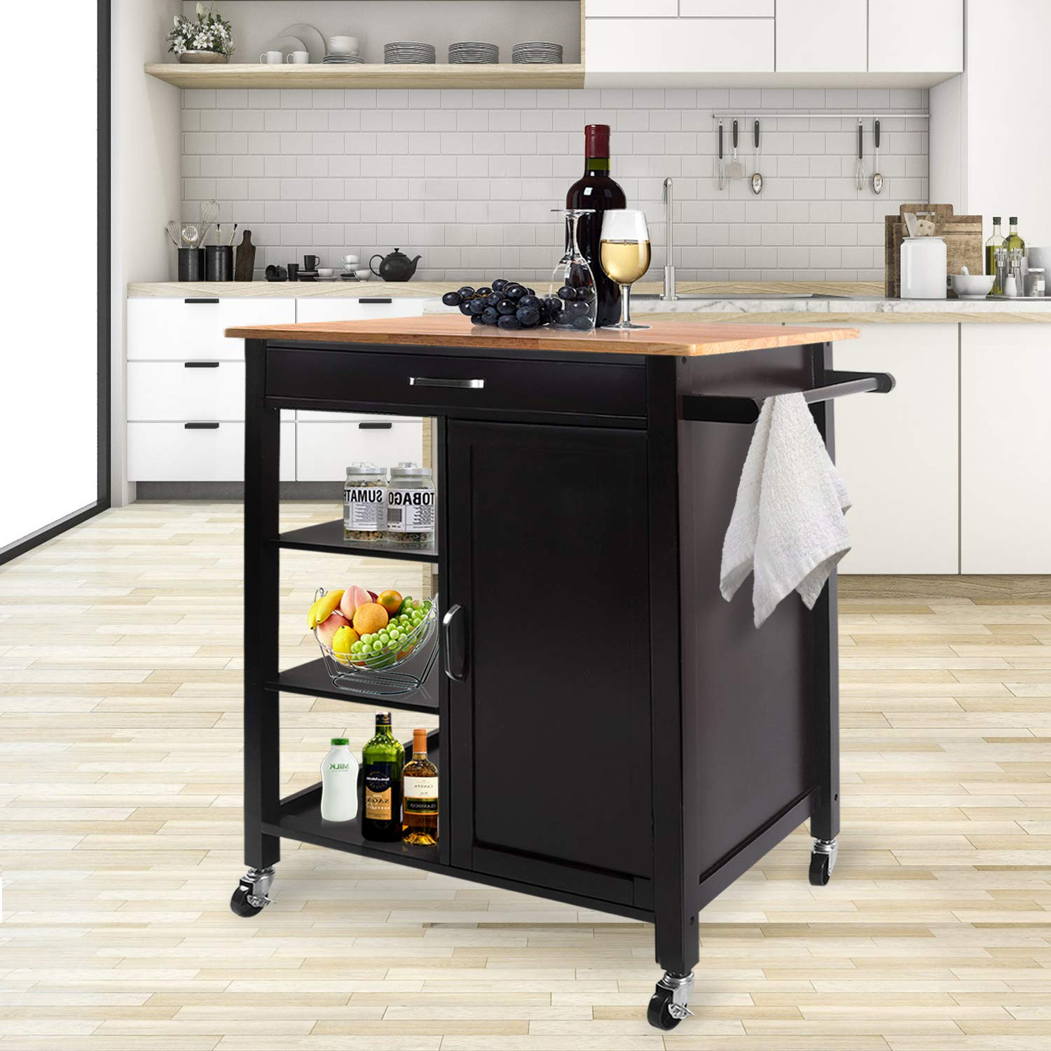 Outstanding Joo Life Wood Kitchen Island Cart Trolley Rolling Kitchen Home Remodeling Inspirations Propsscottssportslandcom