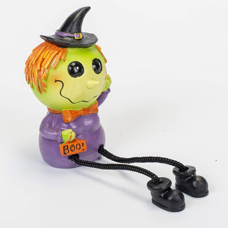 Friendly Cartoon Green Witch with Boo Purse 8 x 2.5 Inch Halloween Dangle Leg Shelf Sitter
