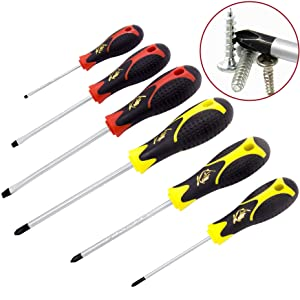 Screwdriver Set 6 Pieces Phillips and Slotted NON-SLIP WIDE COMFORTABLE HANDLE, Micro-Fine Grip, Heavy Duty, Rust Resistant, Ergonomic Fluted, MAGNETIC TIPS - Craftsman Toolkit For Wet, Oily Hand Work