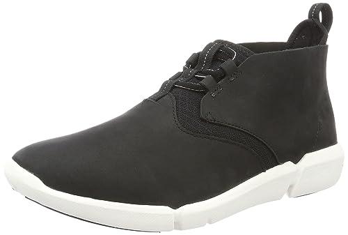 Clarks Mens Triflow Mid HiTop Sneakers Black Black Nubuck 6