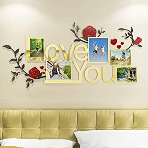 DecorSmart Gold Family Tree Wall Decor Picture Frame Collage Removable 3D DIY Acrylic Wall Stickers for Living Room Bedroom with Rose and Quote Love You