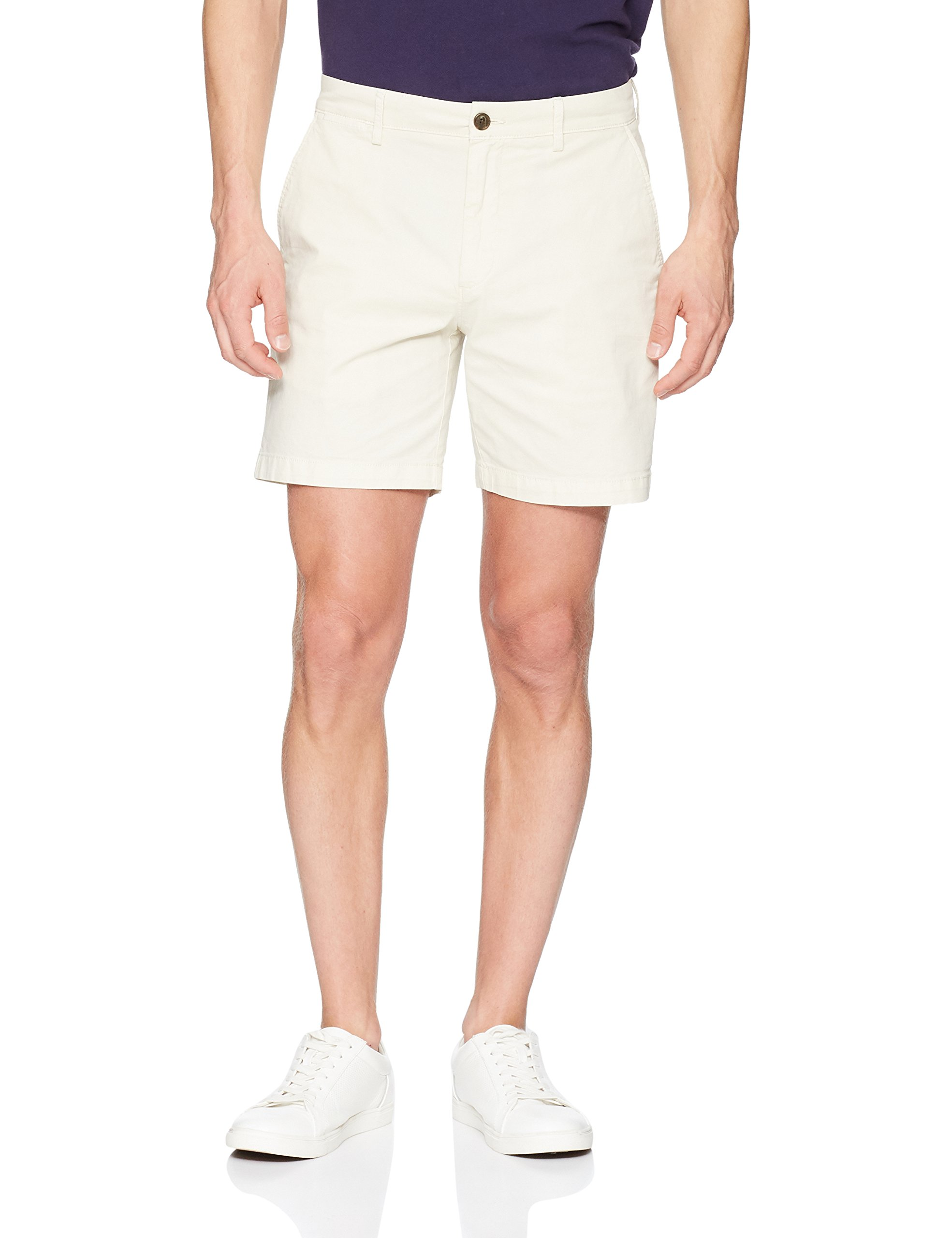 Goodthreads Men's 7'' Inseam Flat-Front Stretch Chino Short, Moonbeam, 32