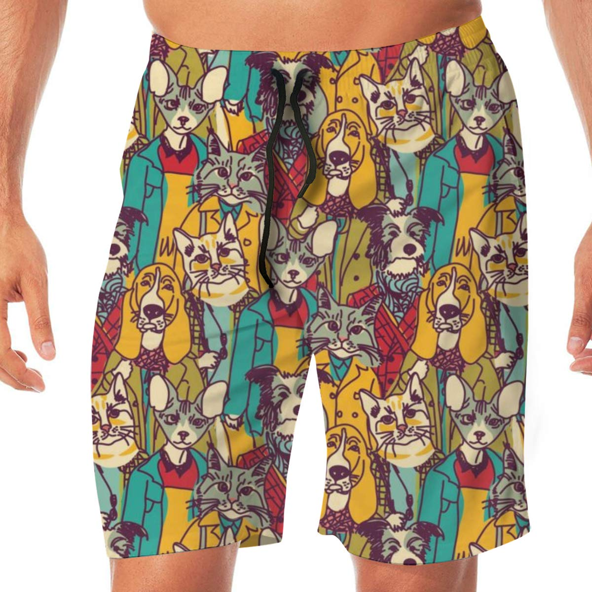 TR2YU7YT Crowd People Like Cats and Dogs Casual Mens Swim Trunks Quick Dry Printed Beach Shorts Summer Boardshorts Bathing Suits with Drawstring