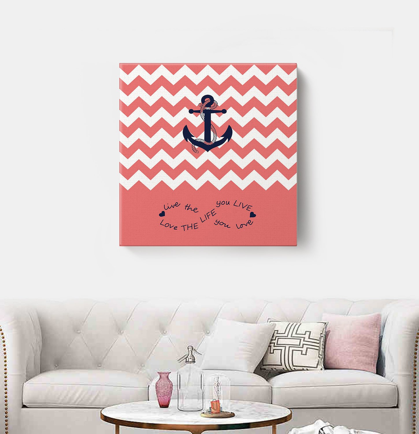 Anchor Love The Life You Love Chevron Zig Zag Ripple Coral White - Oil Painting On Canvas with Wood Frame Modern Wall Art Pictures For Home Decoration,12''x12'' by Prime Leader (Image #3)