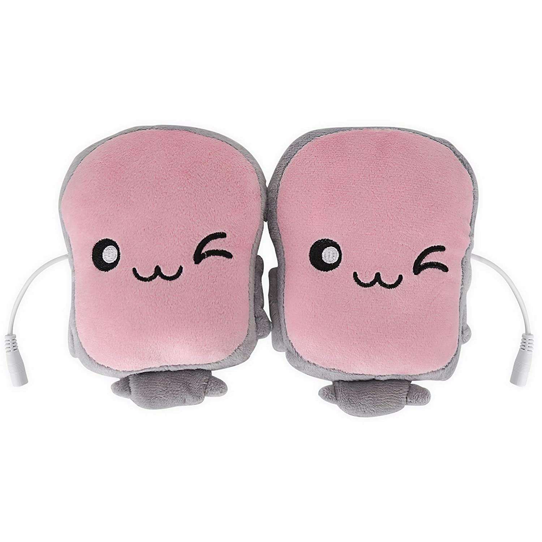 Toast USB Hand Warmers Cute USB Heating Gloves Half Wearable Fingerless (pink) Coeuspow technology inc