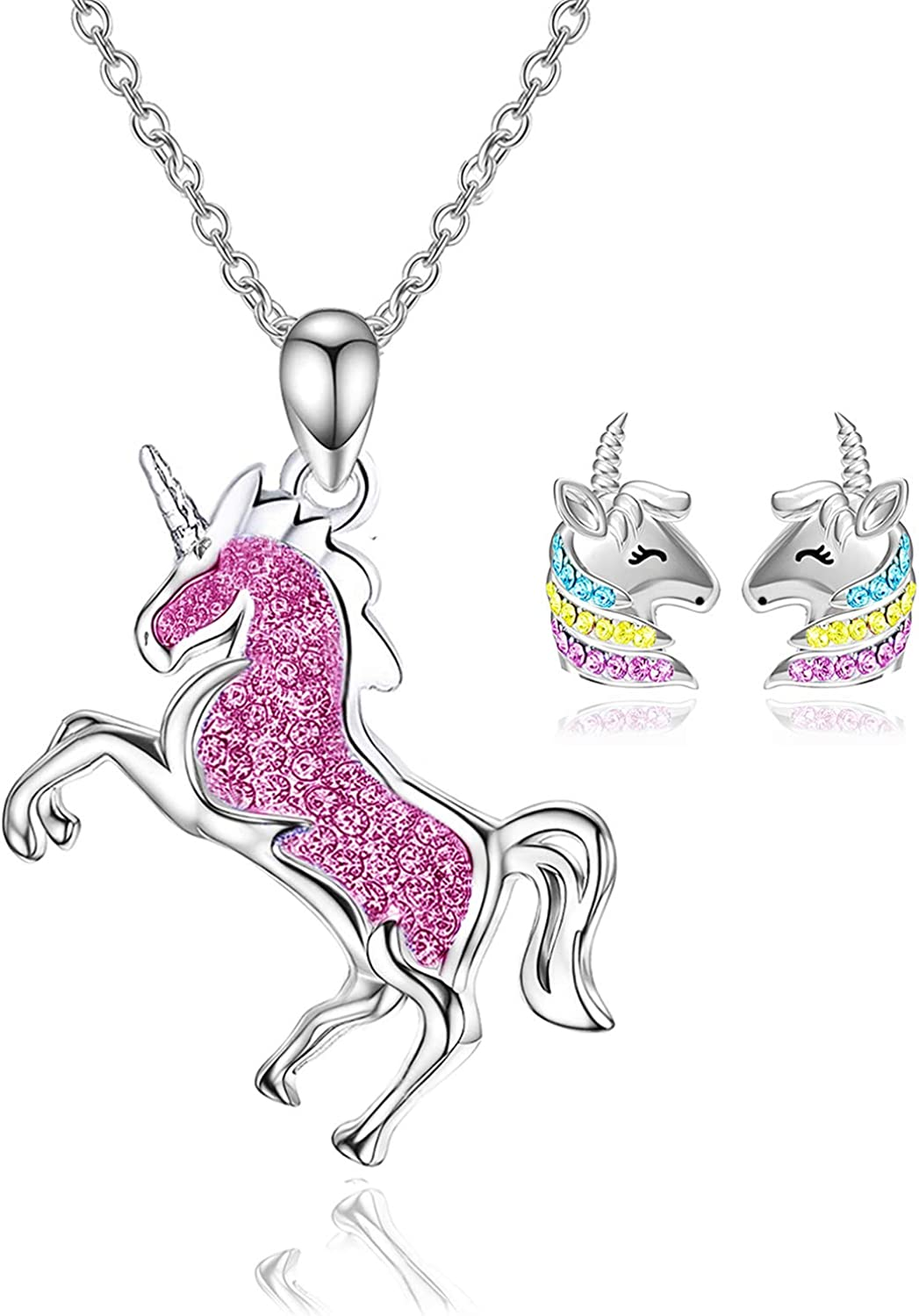 Little Girls Silver Plated NECKLACE UNICORN Face Charm Childs Jewellery