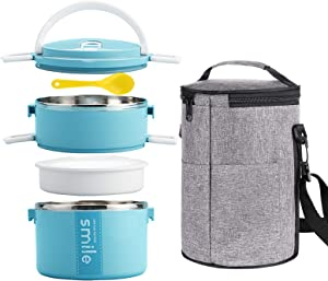 YBOBK HOME Bento Lunch Box Stainless Steel Insulated Thermal Stackable Thermos Lunch Box with Microwave Safe Food Containers and Bag for Adults (Blue)