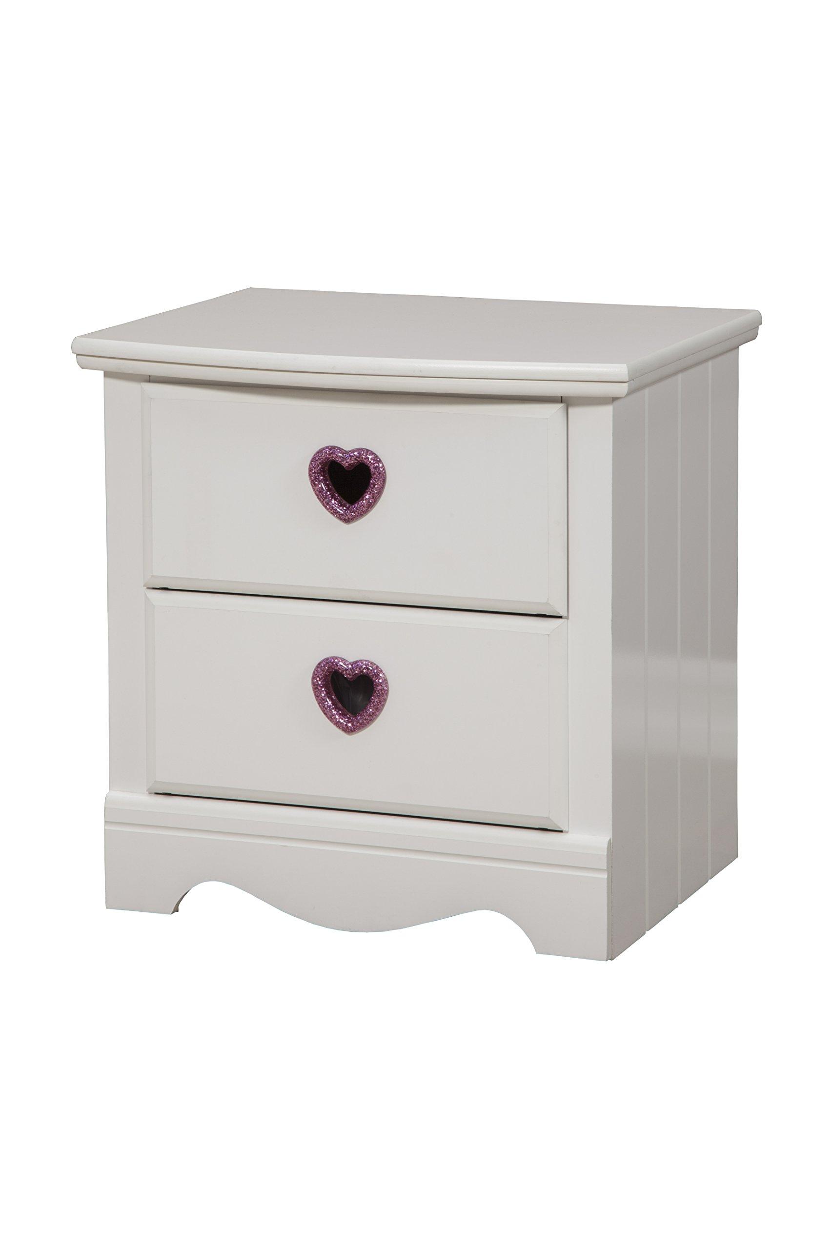 Sandberg Furniture Sparkling Hearts 2-Drawer Nightstand, Frost White