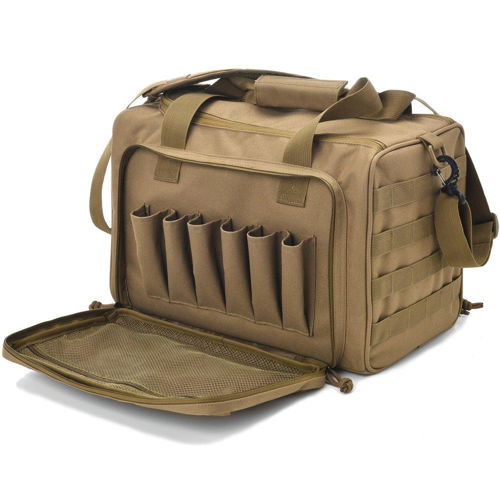 Tactical Gun Shooting Range Bag, Deluxe Pistol Range Duffle Bags Tan