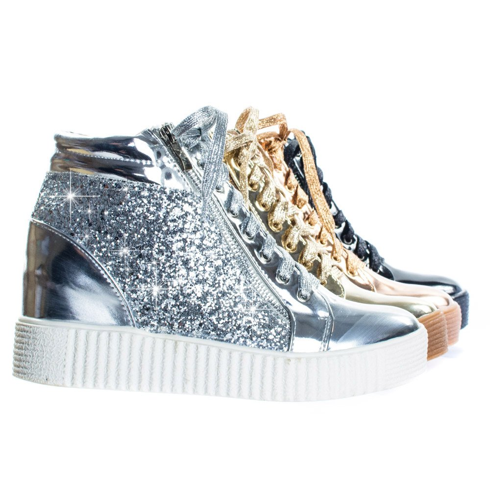 Forever Link Retro Glitter Oxford Lace Up Platform Wedge Creeper, Women Sneaker B078ZN1GVM 10 B(M) US|Silver