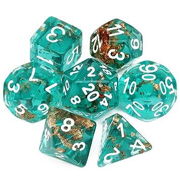 Haxtec DND - Juego de Dados (7 Piezas, poliedrales D&D, para ...
