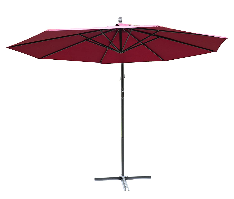 Outsunny Parasol d/éport/é octogonal /à manivelle diam/ètre 3 m Rouge